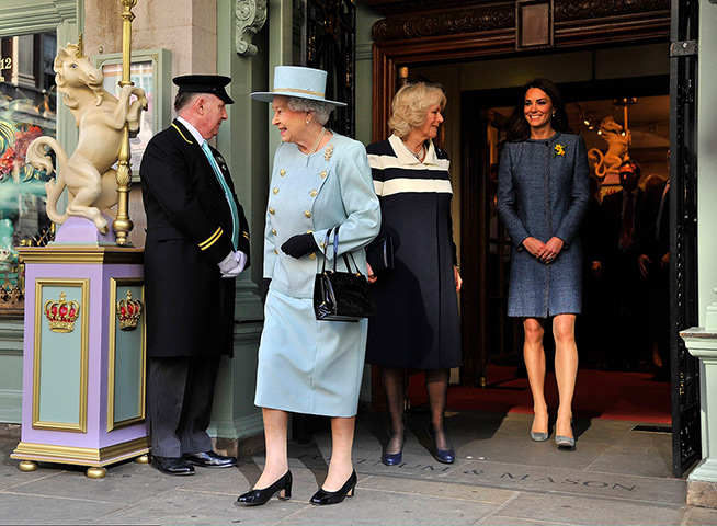 Queen, Duchess of Cornwall and Duchess of Cambridge leave Fortnum & Mason
